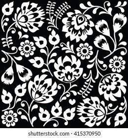 Polish folk art white pattern on black - Wzory Lowickie, Wycinanki