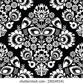 Polish folk art white seamless pattern on black - wzory lowickie, wycinanki