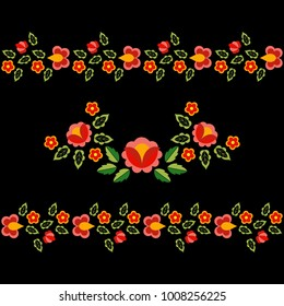 Polish folk pattern vector. Floral ethnic ornament. Slavic eastern european print. Seamless border flower design for bohemian interior textile, pillow case, gypsy fashion embroidery, greeting card.