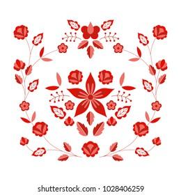 Polish folk pattern vector. Floral ethnic ornament. Slavic eastern european print. Red flower design for bohemian pillow case, fashion boho embroidery clothing, gypsy interior textile, silk scarf.