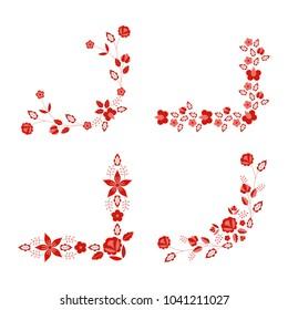 Polish folk pattern vector. Floral ethnic ornament. Slavic eastern european print. Red flower design for rustic wedding card, border corner, bohemian text decoration, gypsy fashion embroidery.