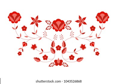 Polish folk pattern vector. Floral ethnic ornament. Slavic eastern european print. Red flower design for boho fashion embroidery neckline, rustic wedding card, bohemian interior textile, pillow case.