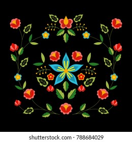 Polish folk pattern vector. Floral ethnic ornament. Slavic eastern european print. Square flower design for gypsy interior textile, bohemian pillow case, fashion embroidery, boho poster, silk scarf.