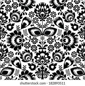 Polish folk seamless pattern in black and white