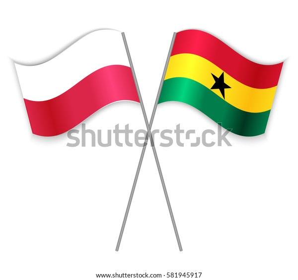 Polish and Ghanaian crossed flags. Poland combined with Ghana isolated on white. Language learning, international business or travel concept.