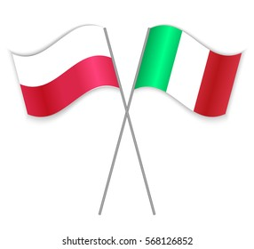 Polish and Italian crossed flags. Poland combined with Italy isolated on white. Language learning, international business or travel concept.