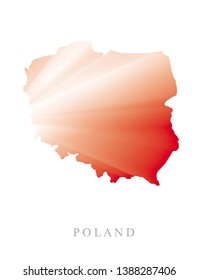 Polish Map Vector Illustration for Printing, Card, Poster, Wall Art, Decoration. White and Red Map of Poland Isolated on a White Background. Simple Patriotic Vector Design.