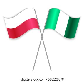 Polish and Nigerian crossed flags. Poland combined with Nigeria isolated on white. Language learning, international business or travel concept.