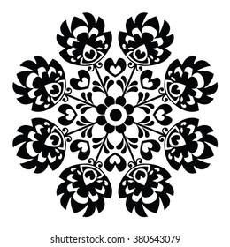 Polish round black folk art pattern - Wzory Lowickie, Wycinanka