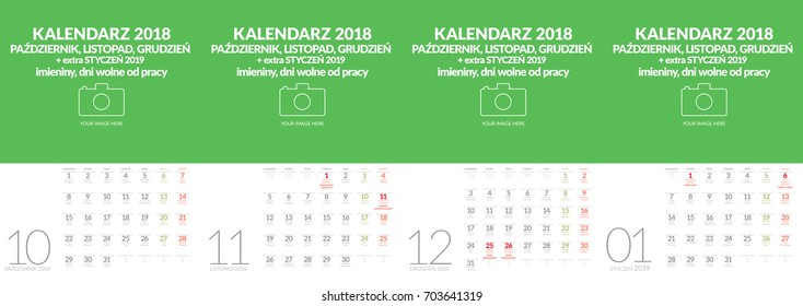 Polish vector wall calendar format A3 contains the name days and holidays. Four months October, November, December and January 2019. Other months in other files