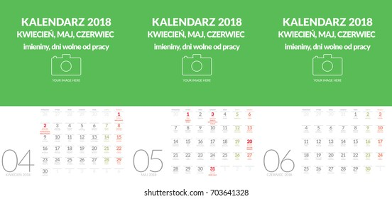 Polish vector wall calendar format A3 contains the name days and holidays. Three months April, May, June. Other months in other files