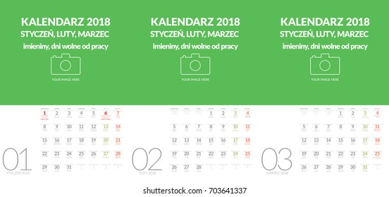 Polish vector wall calendar format A3 contains the name days and holidays. Three months January, February, March. Other months in other files