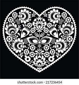 Polish white folk art heart pattern on black - wzory lowickie, wycinanka