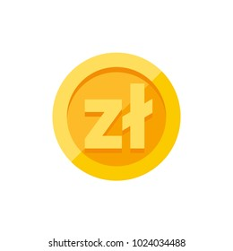 Polish zloty currency symbol on gold coin, money sign flat style vector illustration isolated on white background