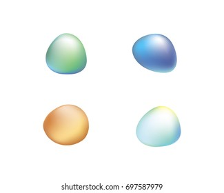 Polished 3d smooth oval stones with shading and highlights. Colorful logo elements as irregular odd unique shapes.