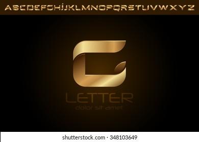 Polished gold letter G Logo design alphabet collection