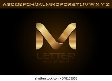 Polished gold letter M Logo design alphabet collection