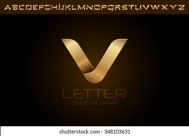 Polished gold letter V Logo design alphabet collection