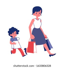 Polite child with good manners helping a woman carry shopping bags flat vector illustrations isolated on white background. Good behavior and courtesy concept.