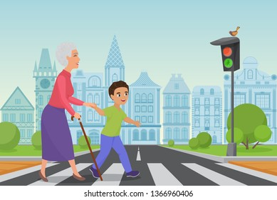 Polite little boy helps smiling old woman to pass the road at a pedestrian crossing while the green light shines. Cartoon vector illustration.