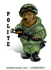 Polite Russian red bear in uniform with a weapon in his hands. Isolated on white. Vector illustration.