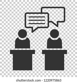 Politic debate icon in flat style. Presidential debates vector illustration on isolated background. Businessman discussion business concept.
