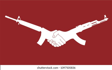 Politic Logo design, m 16 and kalashnikov like a shaking hands for peace and cooperation. Make friendship no war.
