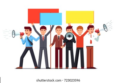Political agitator business men crowd shouting with loud speakers & holding placards. Protesting people on demonstration. Flat style vector illustration isolated on white background.
