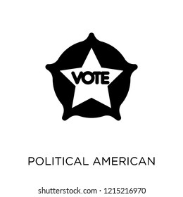 Political american elections publicity badge icon. Political american elections publicity badge symbol design from Political collection. Simple element vector illustration on white background.