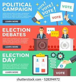 Political campaign, election debates, election day flat illustration concepts set. Flat design graphics elements for web sites, web banners, printed materials, infographics. Modern vector illustration