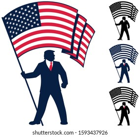 Political campaign mascot depicting the silhouette of US president Donald J Trump, bearing the flag of the United States of America.