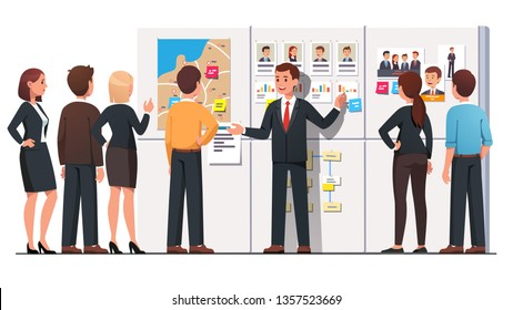 Political campaign office meeting. Politician talking to pr company or hq staff people group showing candidate polling statistics, competitors photo on whiteboard. Flat vector character illustration