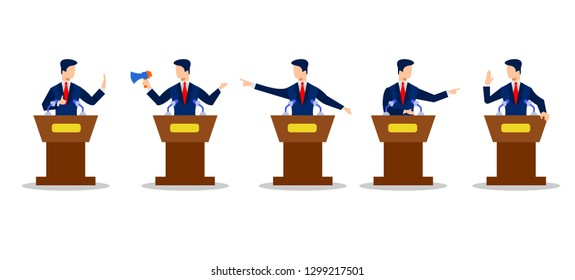 Political debates illustration. politician discussing problems vector illustration concept , can use for, landing page, tem