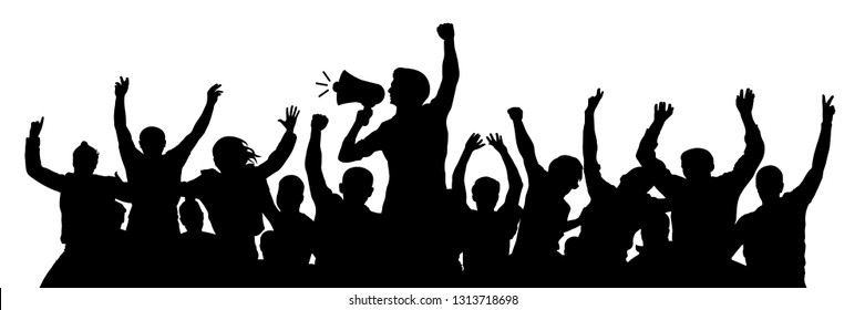Political demonstration. Cheerful party man with speaker. Protest angry youth crowd. Riot silhouette vector