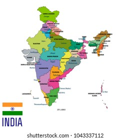Colorful india political map clearly labeled stock photo photo political detailed map of india with all states and country boundary gumiabroncs Choice Image