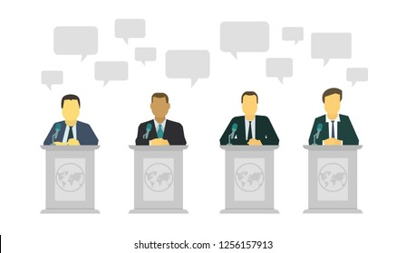 Political discussion. Dialogue of politicians on the stage. Speech rostrum microphone.