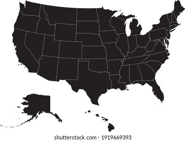 Political divisions of the US. Basis silhouettes on white background