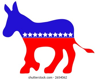 Political Donkey vector, red, white and blue with stars.