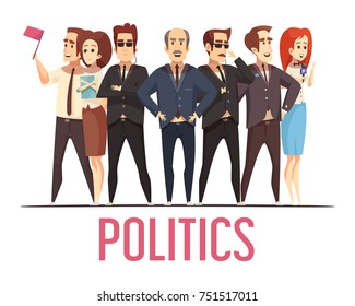 Political election campaign leading candidates public appearance with bodyguards and spouses cartoon characters composition poster vector illustration
