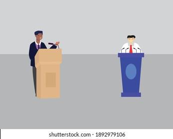political, election debate, vector illustration
