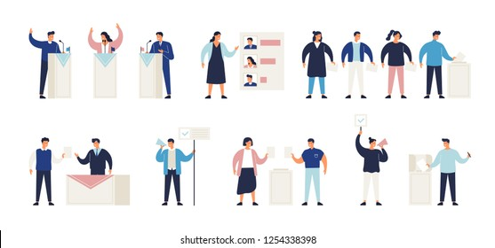 Political election process set. Bundle of people putting ballots in box at polling station, choosing candidate or voting, politicians taking part in debate, agitators. Isometric vector illustration.