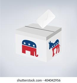 Political Elephant Republican Vs Donkey Democrat. Vote ballot with box.