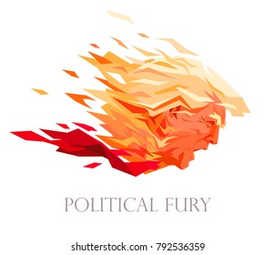 Political fury. Vector portrait of American President Donald Trump in the form of a flaming meteor or fireball. Blonde hairstyle of a screaming politician turns into a fire. Hot topical caricature.