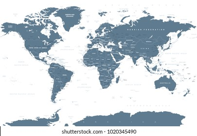 Political Grayscale World Map Vector illustration