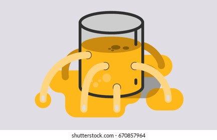 Political incompetence. Visual metaphor about inefficient governance and political mismanagement. The glass of water represents the state, its values and goods in front of the eyes of society.