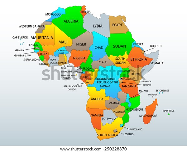Political Location Map African Continent Countries Stock ...