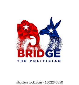 Political logo design inspiration, republican and democrat logo design, donkey logo design, elephant logo design isolated on white background