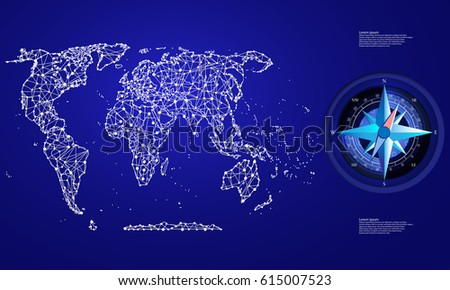 Political Map Abstract World Compass Stock Vector (Royalty Free
