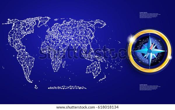 Political Map Abstract World Compass Stock Vector (Royalty
