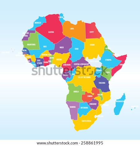 Political Map Africa Stock Vector Royalty Free 258861995